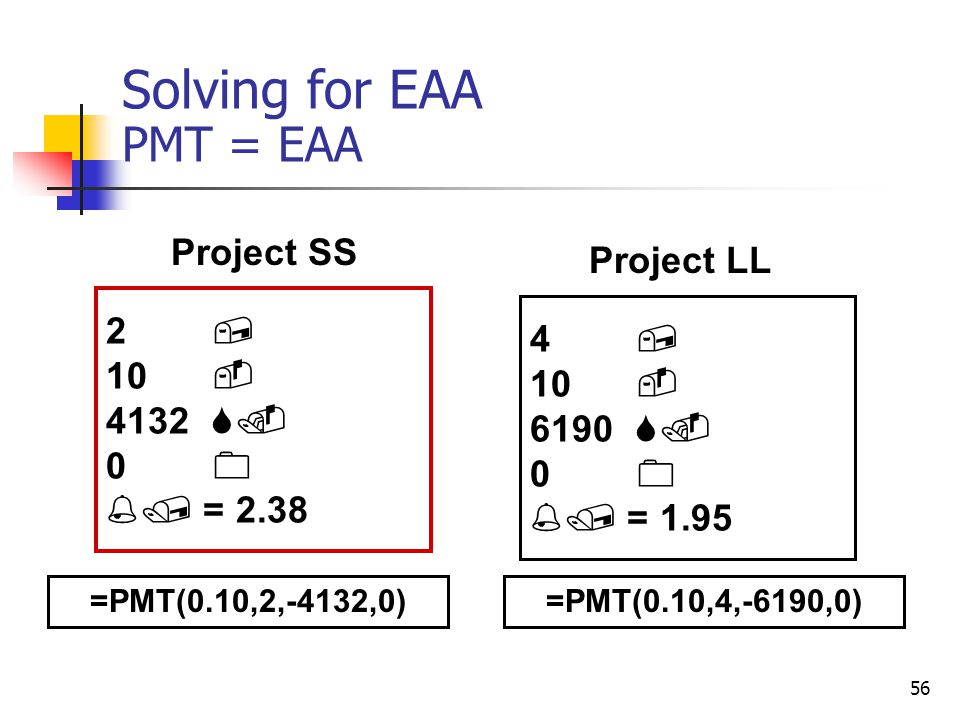 56 Solving for EAA PMT = EAA 2, 10 - 4132 S.