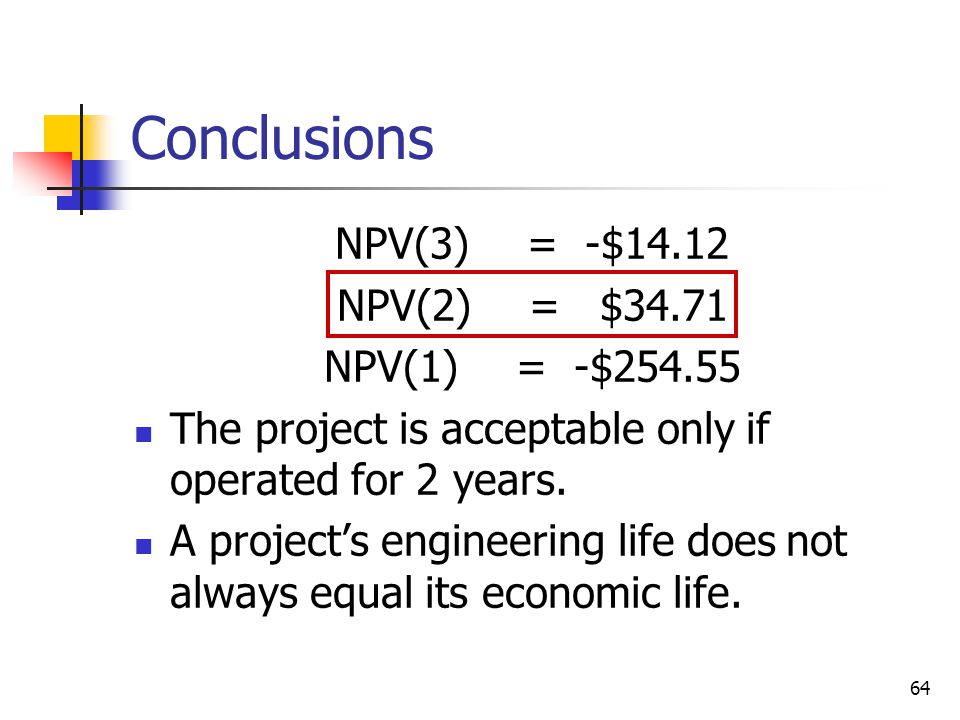 64 Conclusions NPV(3)= -$14.12 NPV(2)= $34.71 NPV(1)= -$254.55 The project is acceptable only if operated for 2 years.