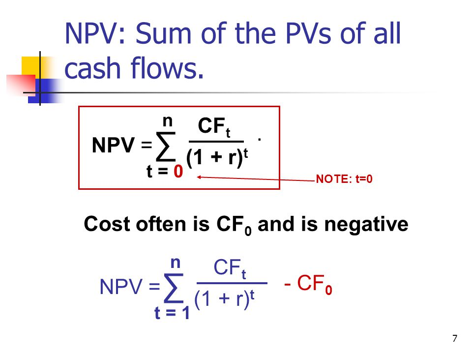 7 NPV: Sum of the PVs of all cash flows.