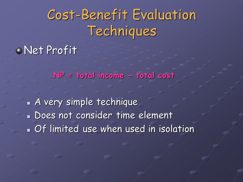 Cost-Benefit Evaluation Techniques Net profit