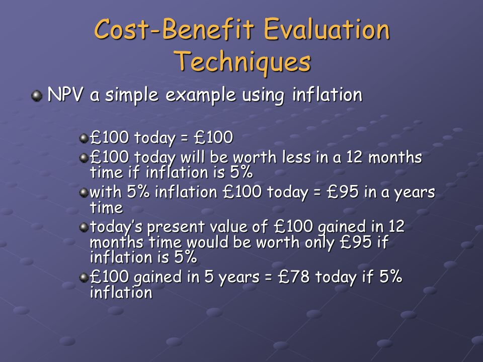Cost-Benefit Evaluation Techniques NPV a simple example (cont.) Another way of considering NPV is that it is the reverse of looking at the value of money from the past.