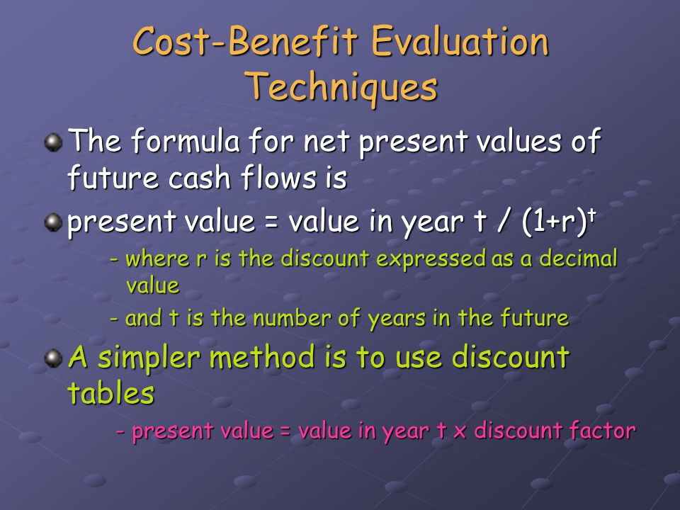 Cost-Benefit Evaluation Techniques Now calculate the NPV for each of the four projects.