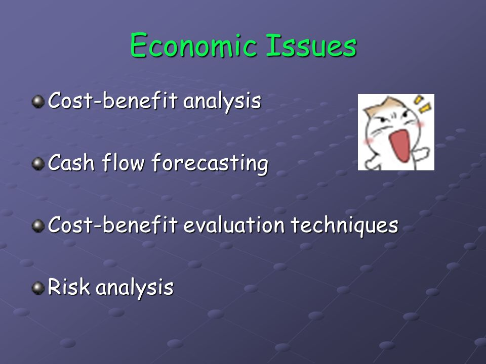 Cost-Benefit Analysis The comparison of estimated costs and benefits The general question is will income and other benefits exceed costs will income and other benefits exceed costs how do the various project options compare how do the various project options compare
