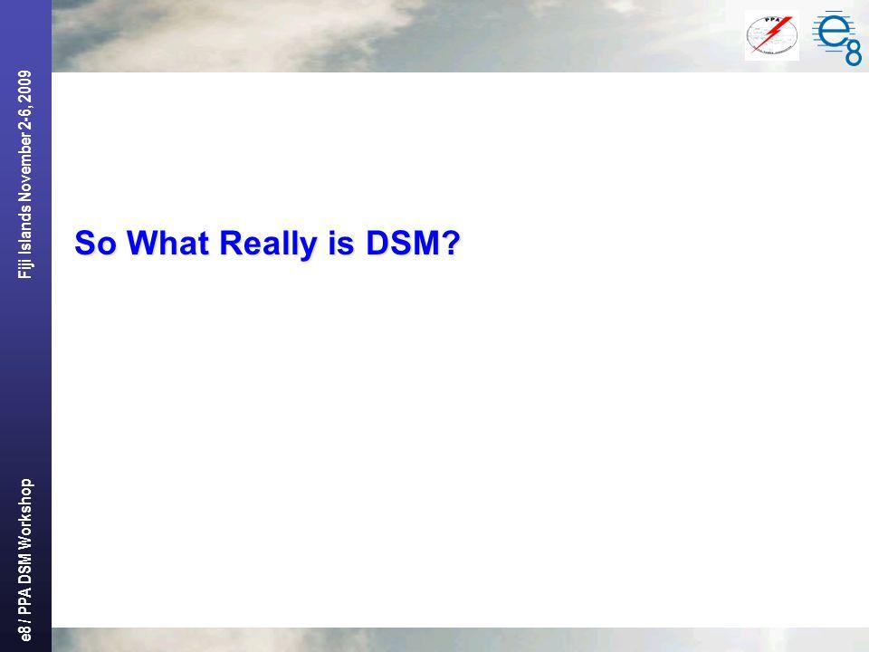 e8 / PPA DSM Workshop Fiji Islands November 2-6, 2009 So What Really is DSM