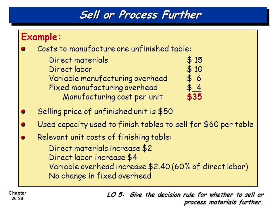 Chapter 26-24 Sell or Process Further Example: Costs to manufacture one unfinished table: Direct materials$ 15 Direct labor$ 10 Variable manufacturing overhead$ 6 Fixed manufacturing overhead$ 4 Manufacturing cost per unit Manufacturing cost per unit$35 Selling price of unfinished unit is $50 Used capacity used to finish tables to sell for $60 per table Relevant unit costs of finishing table: Direct materials increase $2 Direct labor increase $4 Variable overhead increase $2.40 (60% of direct labor) No change in fixed overhead LO 5: Give the decision rule for whether to sell or process materials further.