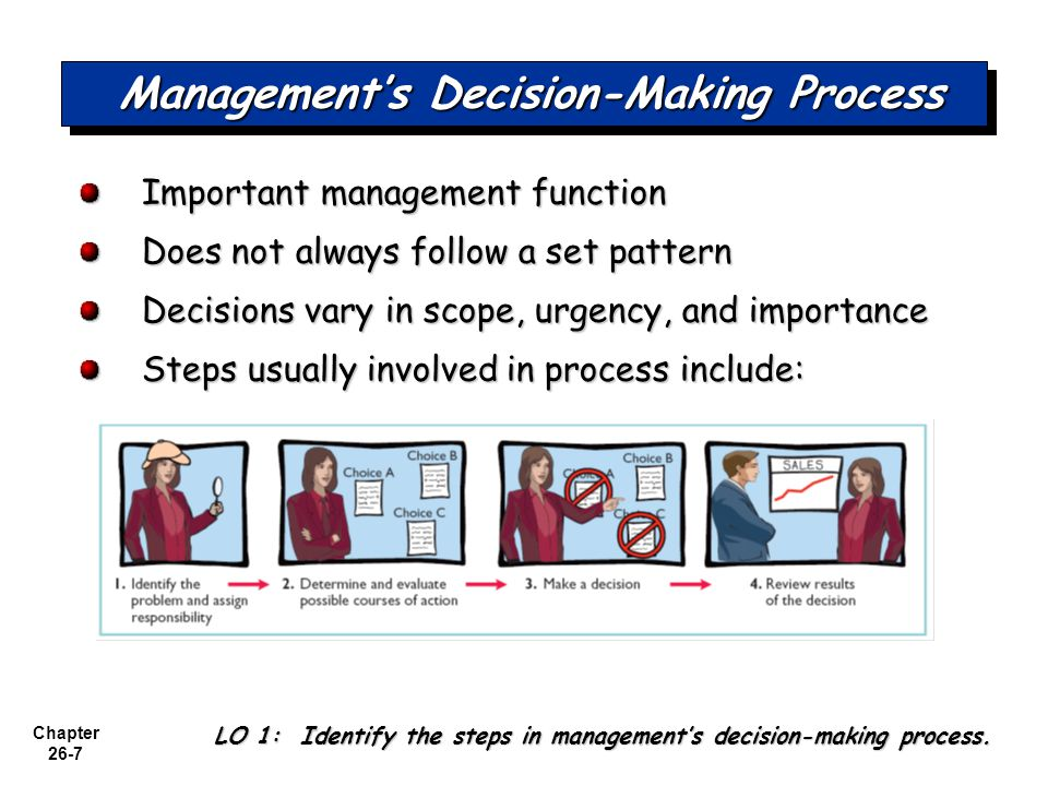 Chapter 26-7 Management's Decision-Making Process Important management function Does not always follow a set pattern Decisions vary in scope, urgency, and importance Steps usually involved in process include: LO 1: Identify the steps in management's decision-making process.