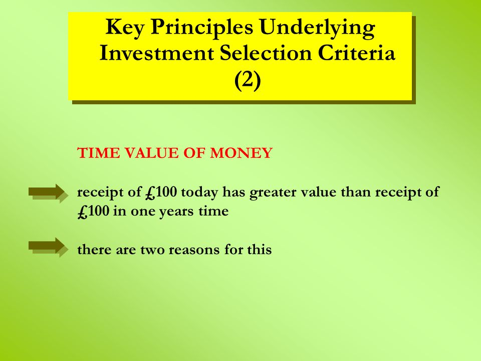 TIME VALUE OF MONEY receipt of £100 today has greater value than receipt of £100 in one years time there are two reasons for this Key Principles Under