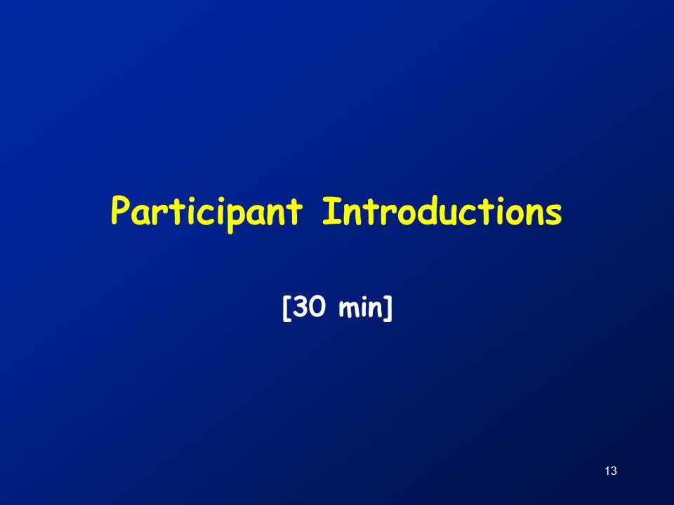 13 Participant Introductions [30 min]
