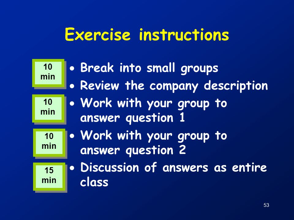 53 Exercise instructions  Break into small groups  Review the company description  Work with your group to answer question 1  Work with your group to answer question 2  Discussion of answers as entire class 10 min 15 min
