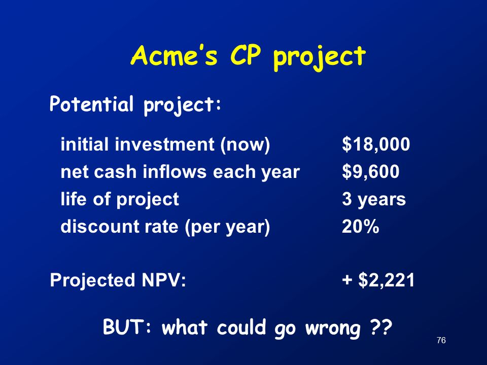76 Acme's CP project Potential project: initial investment (now)$18,000 net cash inflows each year$9,600 life of project 3 years discount rate (per year)20% Projected NPV: + $2,221 BUT: what could go wrong