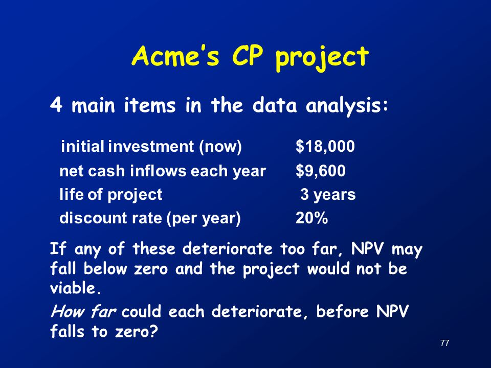 77 Acme's CP project 4 main items in the data analysis: initial investment (now)$18,000 net cash inflows each year$9,600 life of project 3 years discount rate (per year)20% If any of these deteriorate too far, NPV may fall below zero and the project would not be viable.