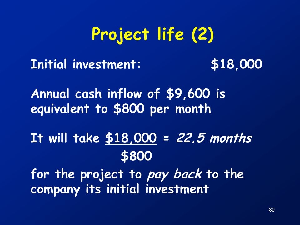 80 Project life (2) Initial investment:$18,000 Annual cash inflow of $9,600 is equivalent to $800 per month It will take $18,000 = 22.5 months $800 for the project to pay back to the company its initial investment