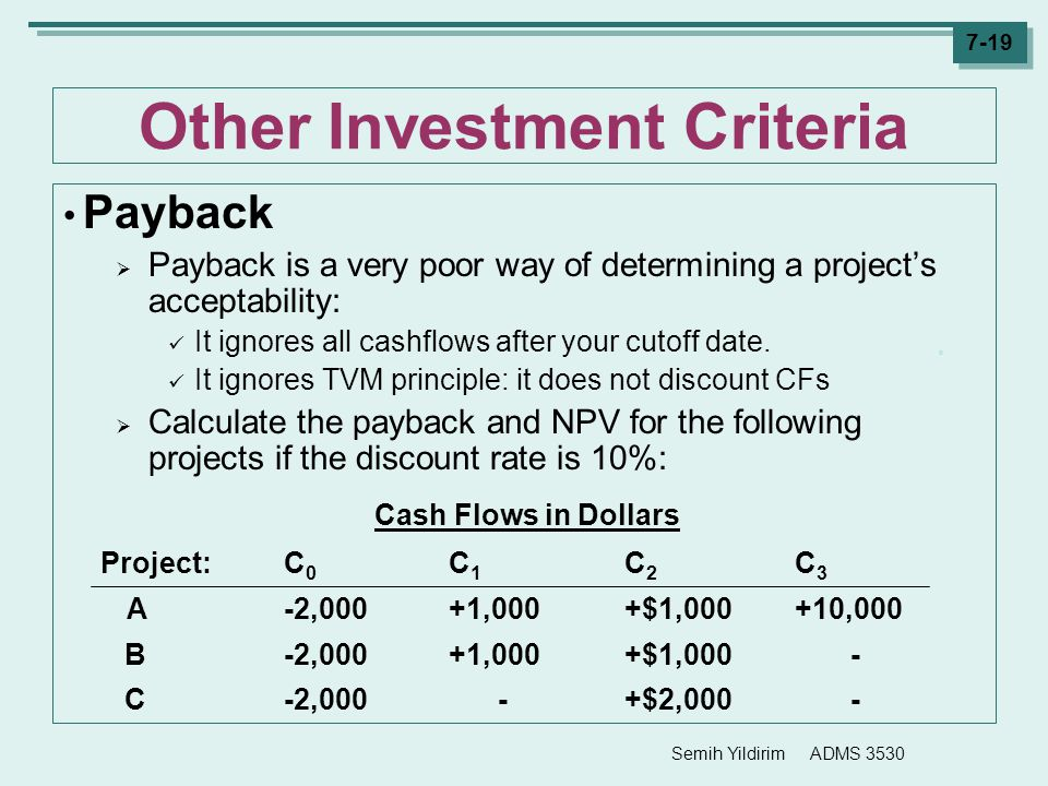 Semih Yildirim ADMS 3530 7-19 Other Investment Criteria Payback  Payback is a very poor way of determining a project's acceptability: It ignores all