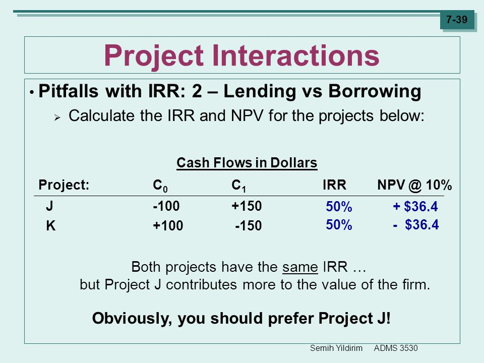 Semih Yildirim ADMS 3530 7-39 Project Interactions Pitfalls with IRR: 2 – Lending vs Borrowing  Calculate the IRR and NPV for the projects below: Cas