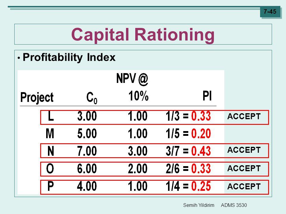 Semih Yildirim ADMS 3530 7-45 Capital Rationing Profitability Index ACCEPT