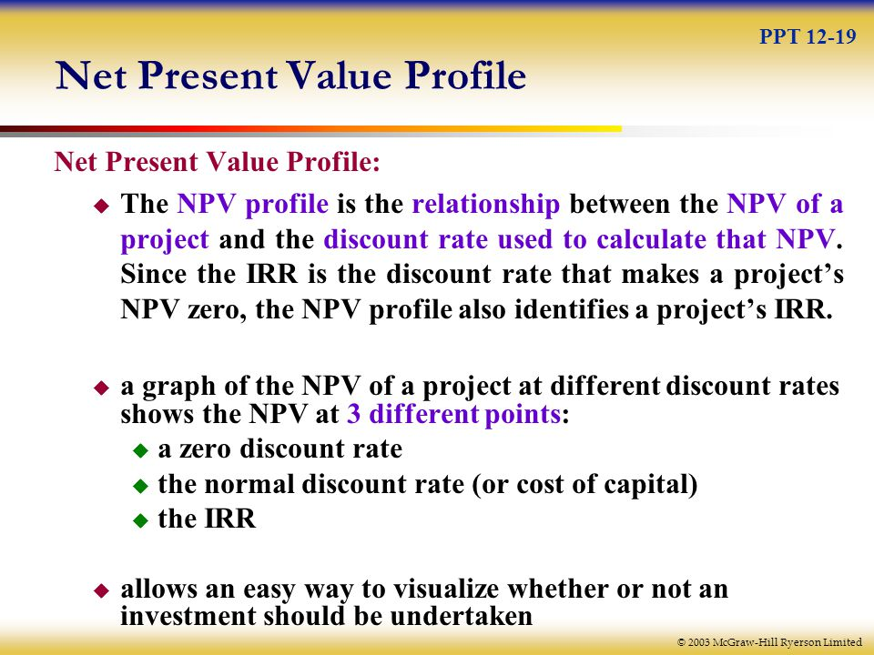© 2003 McGraw-Hill Ryerson Limited Net Present Value Profile Net Present Value Profile:  The NPV profile is the relationship between the NPV of a project and the discount rate used to calculate that NPV.
