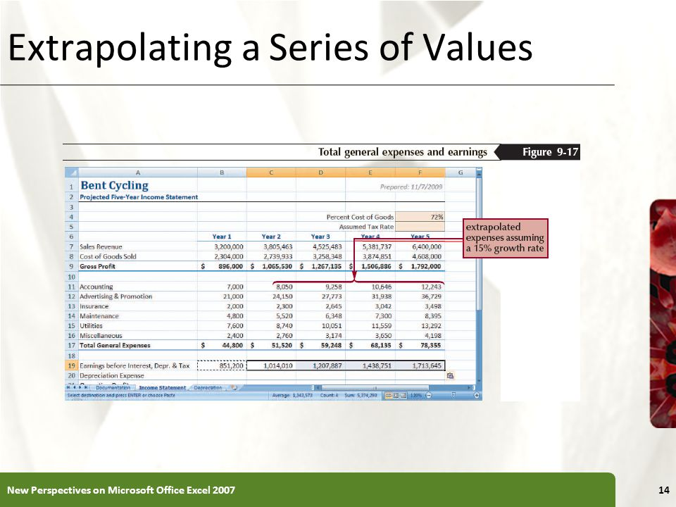 XP Extrapolating a Series of Values New Perspectives on Microsoft Office Excel 200714