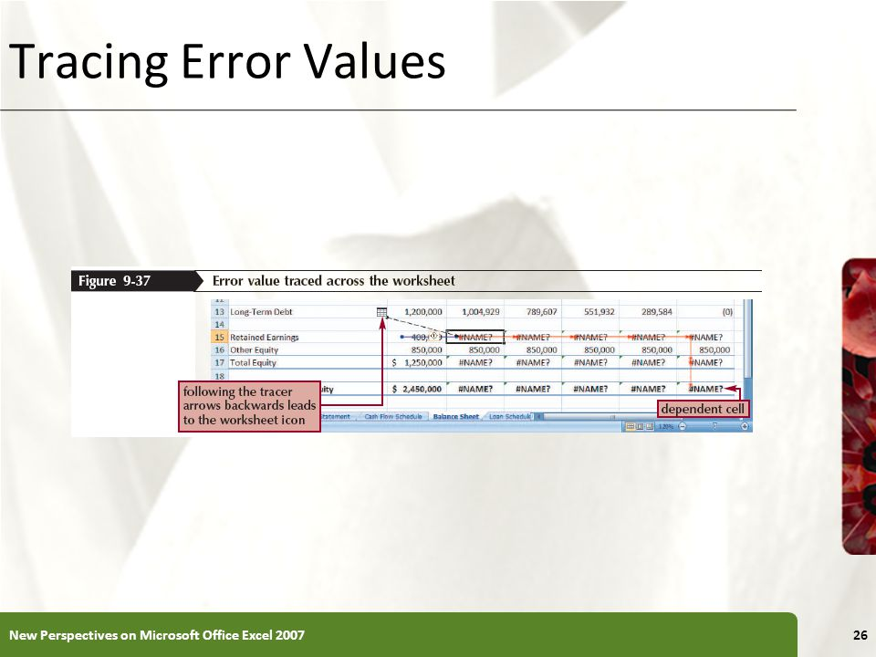 XP Tracing Error Values New Perspectives on Microsoft Office Excel 200726