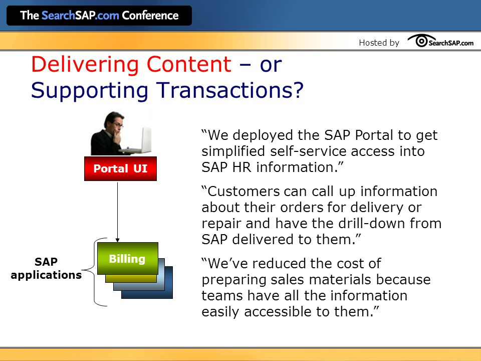 Hosted by Portal UI Billing SAP applications Delivering Content – or Supporting Transactions.