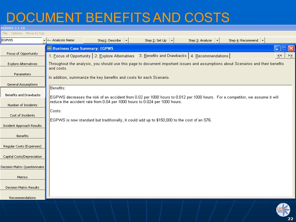 22 DOCUMENT BENEFITS AND COSTS