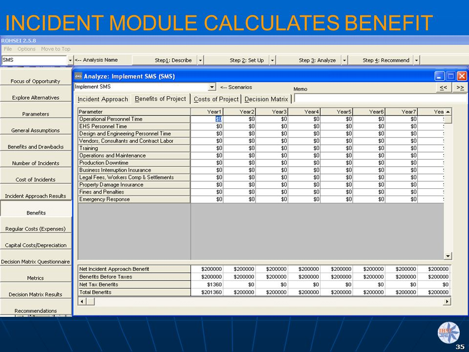 35 INCIDENT MODULE CALCULATES BENEFIT