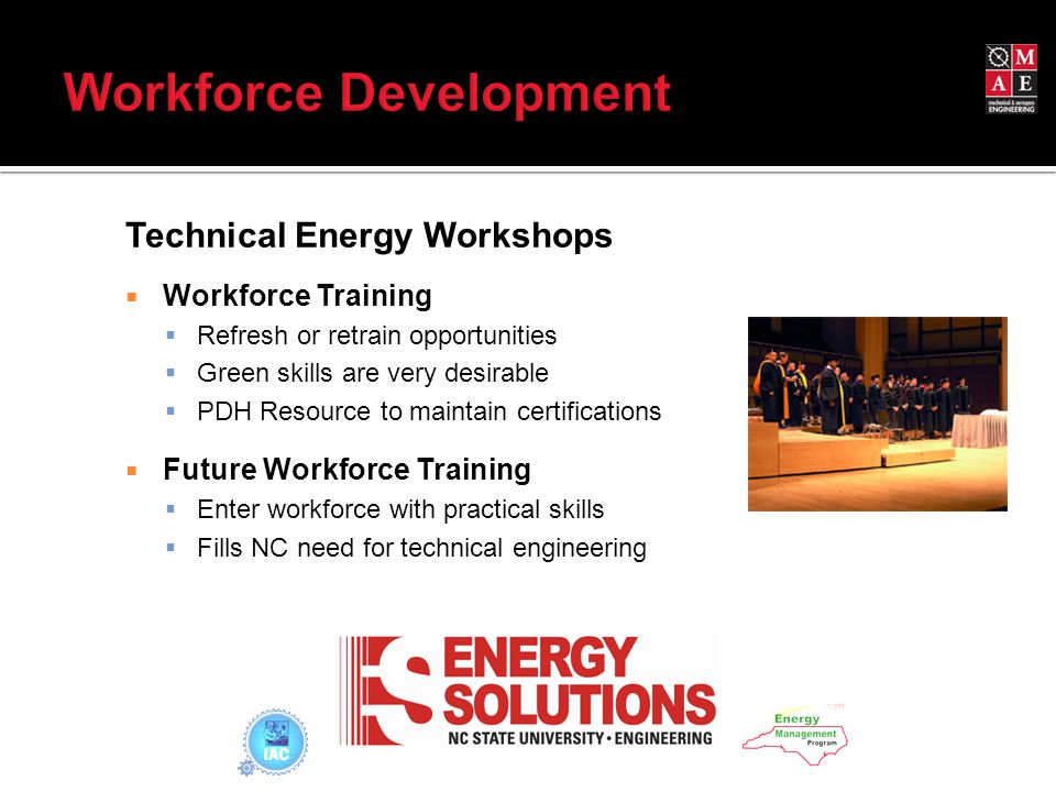Technical Energy Workshops  Workforce Training  Refresh or retrain opportunities  Green skills are very desirable  PDH Resource to maintain certifications  Future Workforce Training  Enter workforce with practical skills  Fills NC need for technical engineering