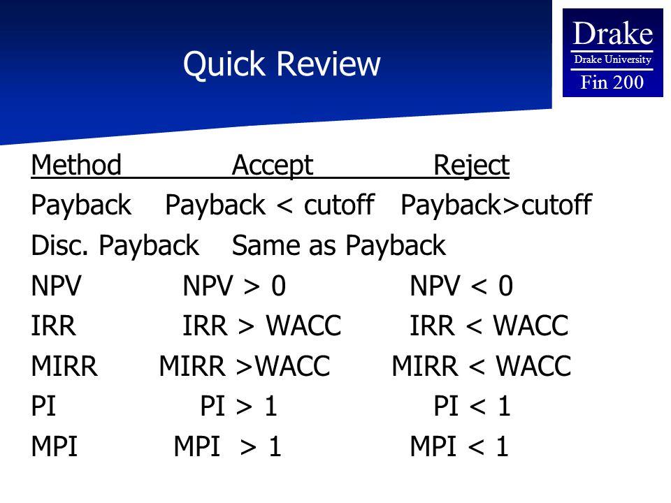 Drake Drake University Fin 200 Quick Review MethodAcceptReject PaybackPayback cutoff Disc. PaybackSame as Payback NPV NPV > 0 NPV < 0 IRR IRR > WACC I