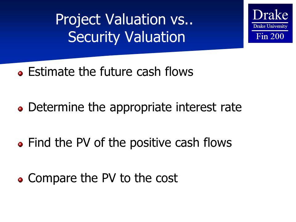 Drake Drake University Fin 200 Project Valuation vs..