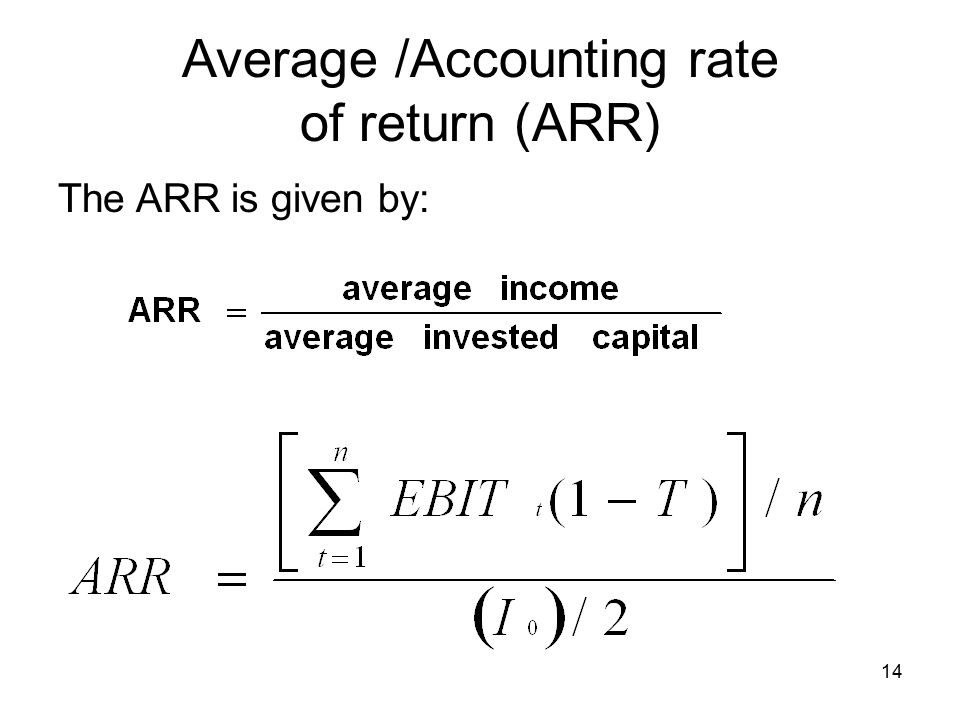 14 The ARR is given by: Average /Accounting rate of return (ARR)