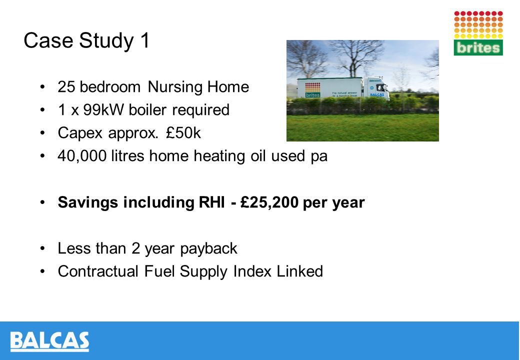 Case Study 1 25 bedroom Nursing Home 1 x 99kW boiler required Capex approx.