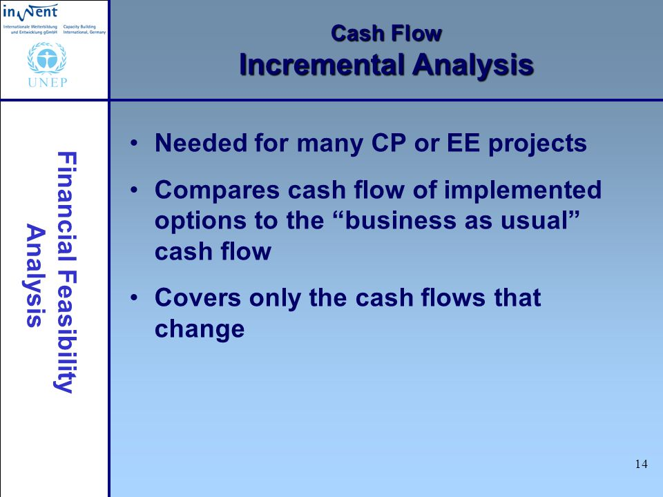 """Financial Feasibility Analysis 14 Cash Flow Incremental Analysis Needed for many CP or EE projects Compares cash flow of implemented options to the """"b"""
