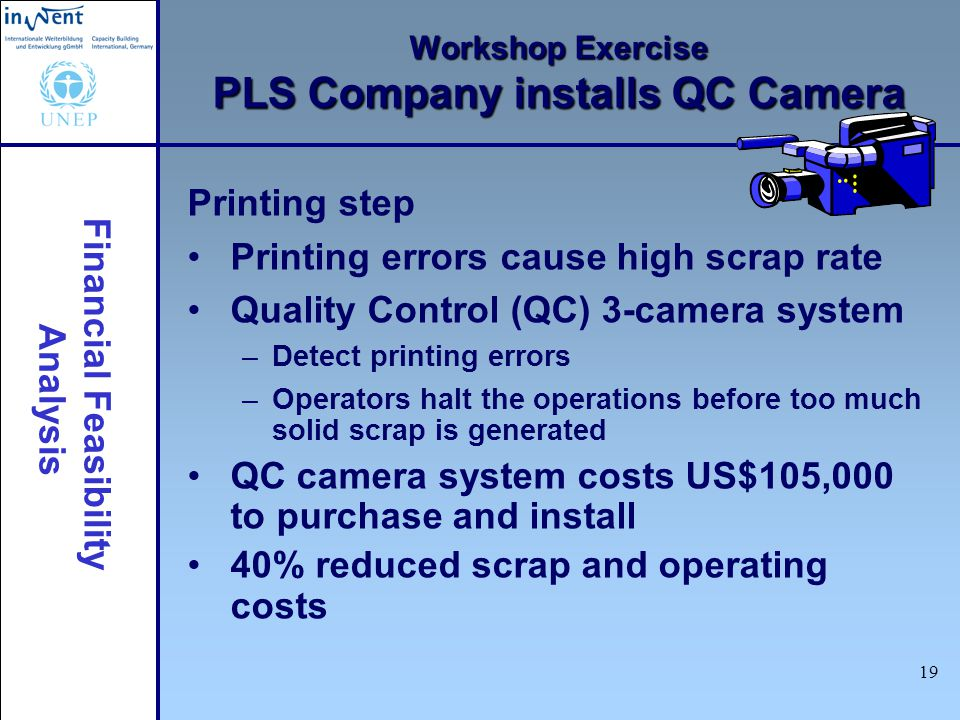 Financial Feasibility Analysis 19 Workshop Exercise PLS Company installs QC Camera Printing step Printing errors cause high scrap rate Quality Control