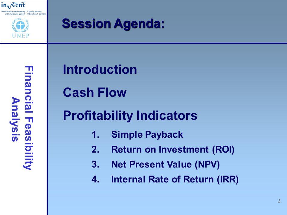 Financial Feasibility Analysis 2 Session Agenda: Introduction Cash Flow Profitability Indicators 1. Simple Payback 2. Return on Investment (ROI) 3. Ne