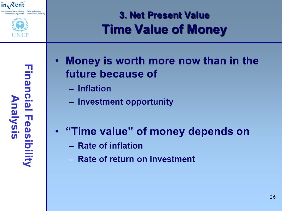 Financial Feasibility Analysis 26 3. Net Present Value Time Value of Money Money is worth more now than in the future because of –Inflation –Investmen