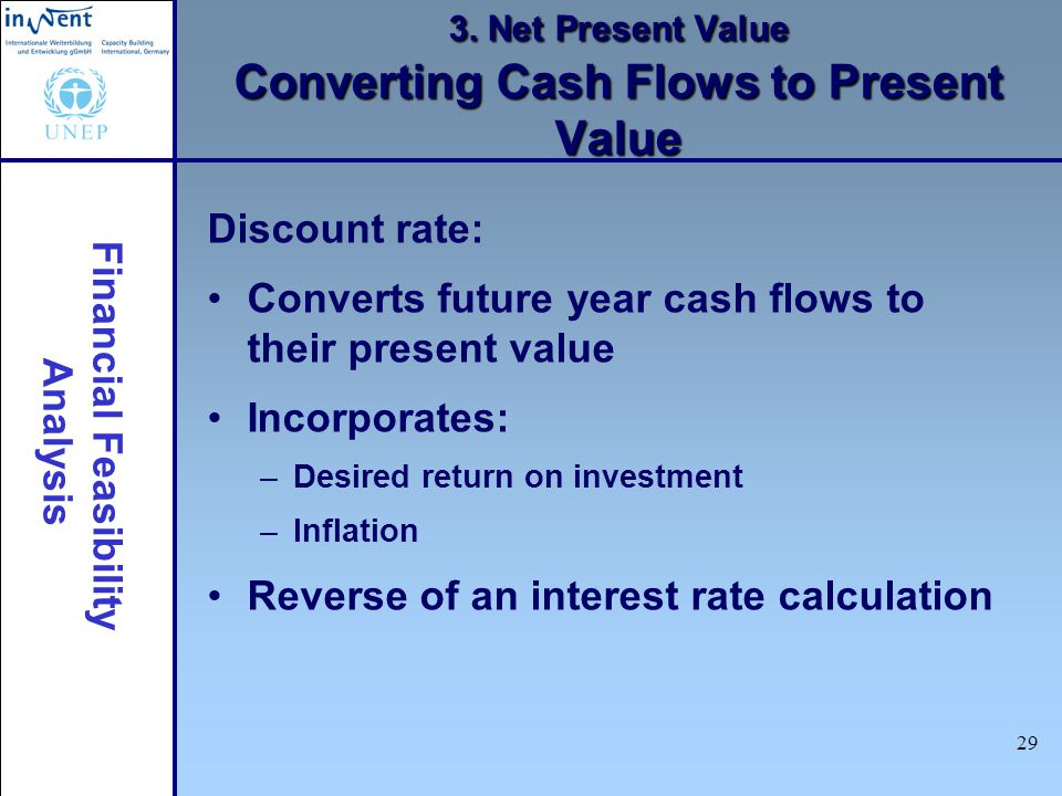 Financial Feasibility Analysis 29 3. Net Present Value Converting Cash Flows to Present Value Discount rate: Converts future year cash flows to their
