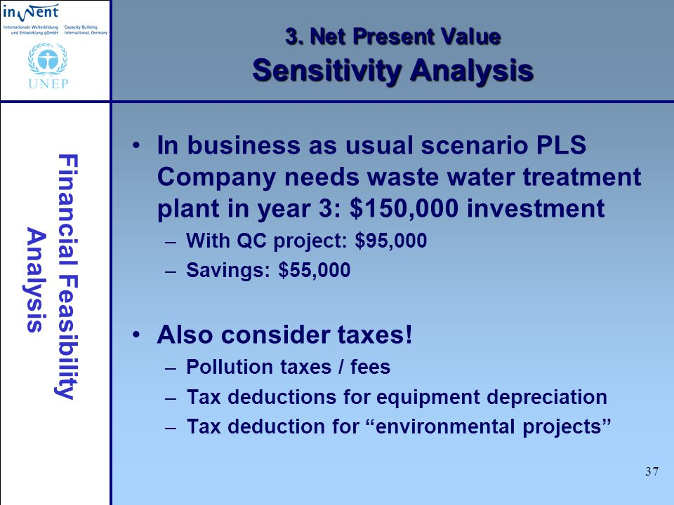 Financial Feasibility Analysis 37 3. Net Present Value Sensitivity Analysis In business as usual scenario PLS Company needs waste water treatment plan