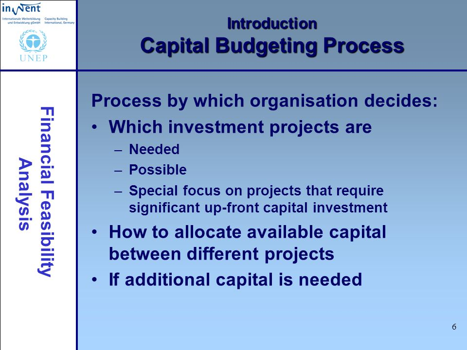 Financial Feasibility Analysis 7 Introduction Capital Budgeting Practices Vary widely from company to company –Larger companies tend to have more formal practices than smaller companies –Larger companies tend to make more and larger capital investments than smaller companies –Some industry sectors require more capital investment than others Vary from country to country