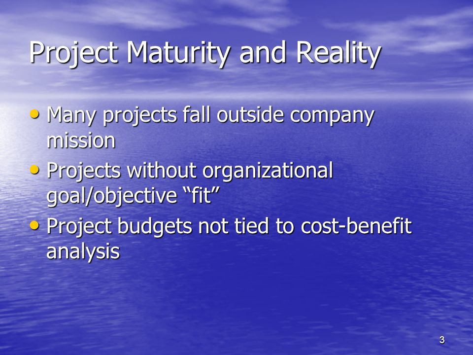 24 Project Portfolio Process - Purpose Identify Projects that Meet Strategic Needs Identify Projects that Meet Strategic Needs –Support Multiple Goals –Direct Organizational Improvement –Enhance/Enable Key Areas Prioritize Potential Projects Prioritize Potential Projects –Limit Active Projects to Manageable Level –Identify Risk-intensive Efforts –Balance Short, Medium, Long-term Returns Reduce Projects from Getting in via Backdoor Reduce Projects from Getting in via Backdoor