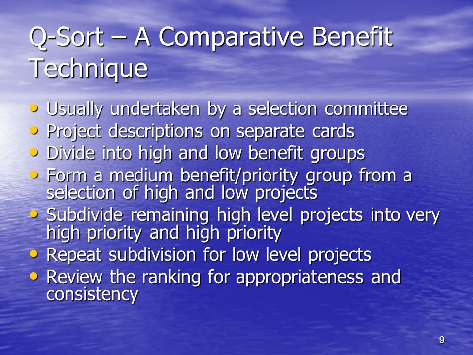 30 Project Selection Evaluation Factors Production Production –Interruptions, learning, process Marketing Marketing –Customer management issues Financial Financial –Return on investment Personnel Personnel –Skills and training, working conditions Project Selection Administrative Administrative –Regulatory standards, strategic fit