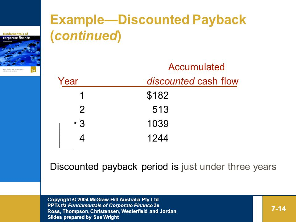Copyright  2004 McGraw-Hill Australia Pty Ltd PPTs t/a Fundamentals of Corporate Finance 3e Ross, Thompson, Christensen, Westerfield and Jordan Slides prepared by Sue Wright 7-14 Example—Discounted Payback (continued) Accumulated Year discounted cash flow 1 $ Discounted payback period is just under three years