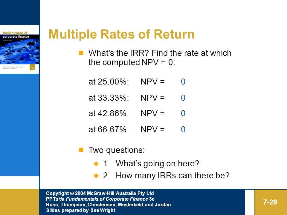 Copyright  2004 McGraw-Hill Australia Pty Ltd PPTs t/a Fundamentals of Corporate Finance 3e Ross, Thompson, Christensen, Westerfield and Jordan Slides prepared by Sue Wright 7-29 Multiple Rates of Return What's the IRR.