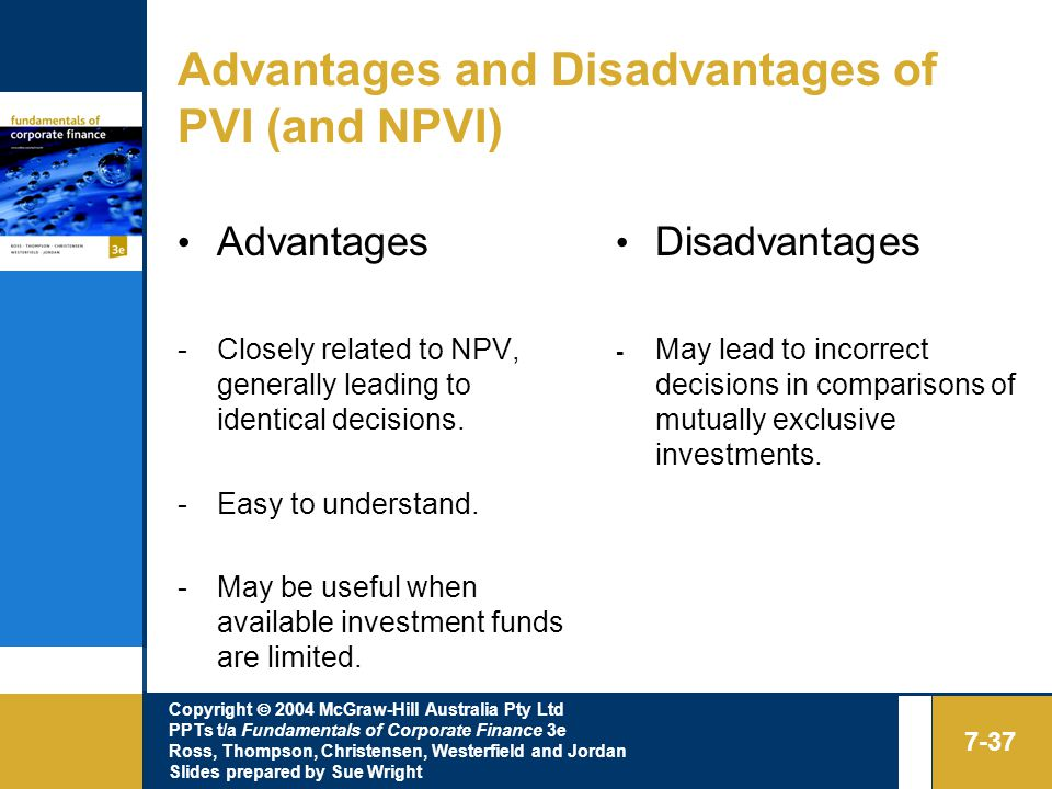 Copyright  2004 McGraw-Hill Australia Pty Ltd PPTs t/a Fundamentals of Corporate Finance 3e Ross, Thompson, Christensen, Westerfield and Jordan Slides prepared by Sue Wright 7-37 Advantages and Disadvantages of PVI (and NPVI) Advantages -Closely related to NPV, generally leading to identical decisions.