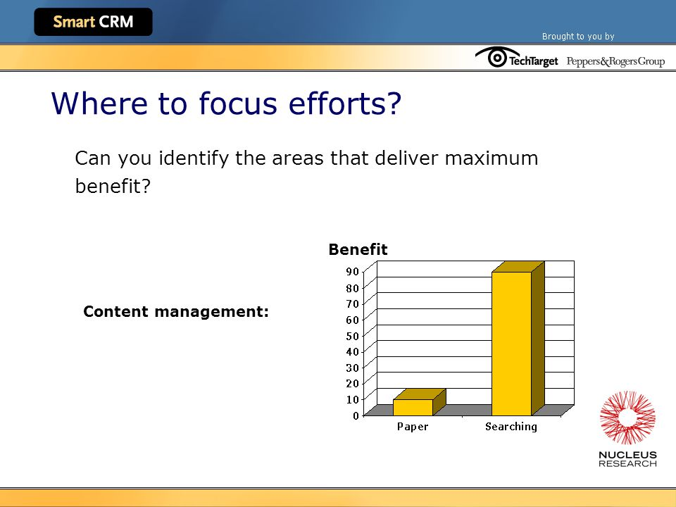 Where to focus efforts. Can you identify the areas that deliver maximum benefit.