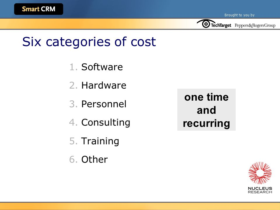 Six categories of cost 1.Software 2.Hardware 3.Personnel 4.Consulting 5.Training 6.Other one time and recurring