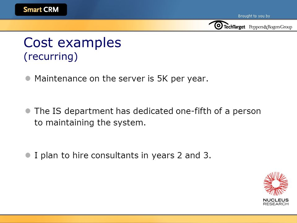 Cost examples (recurring) Maintenance on the server is 5K per year.