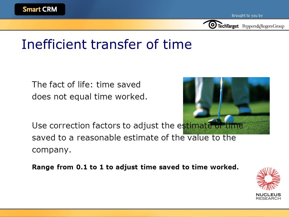 Inefficient transfer of time The fact of life: time saved does not equal time worked.