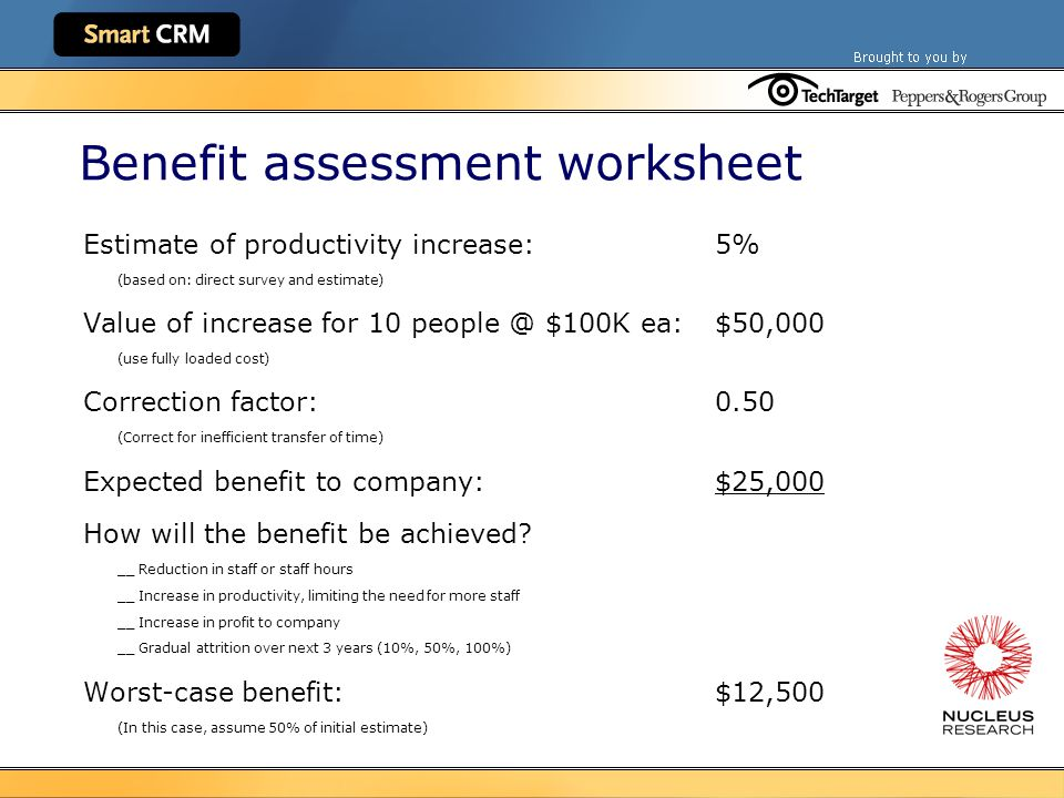 Benefit assessment worksheet Estimate of productivity increase:5% (based on: direct survey and estimate) Value of increase for 10 people @ $100K ea:$50,000 (use fully loaded cost) Correction factor:0.50 (Correct for inefficient transfer of time) Expected benefit to company:$25,000 How will the benefit be achieved.