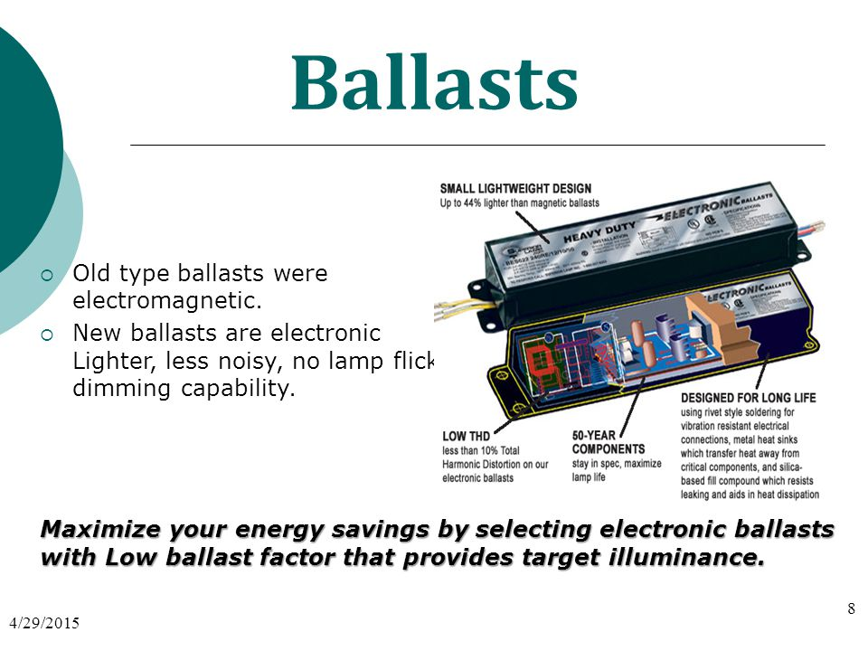 Ballasts  Old type ballasts were electromagnetic.