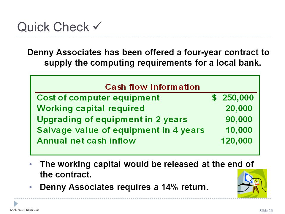 McGraw-Hill/Irwin Slide 26 Quick Check Denny Associates has been offered a four-year contract to supply the computing requirements for a local bank. T