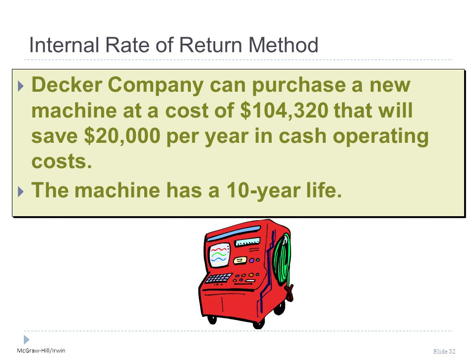 McGraw-Hill/Irwin Slide 32 Internal Rate of Return Method  Decker Company can purchase a new machine at a cost of $104,320 that will save $20,000 per